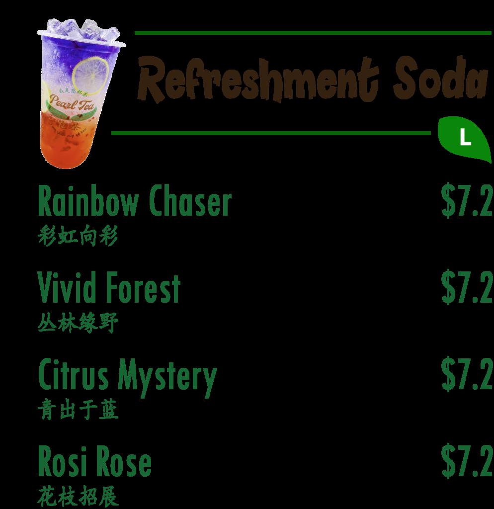 Refreshment Soda Menu